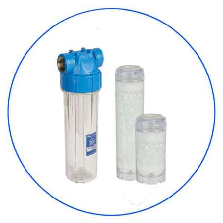 """Φιλτροθήκη 3/4"""" Κεντρικής Παροχής SOFT-2ST, Με Φίλτρο Αποσκλήρυνσης FCPRA 10"""" Της Aqua Filter"""